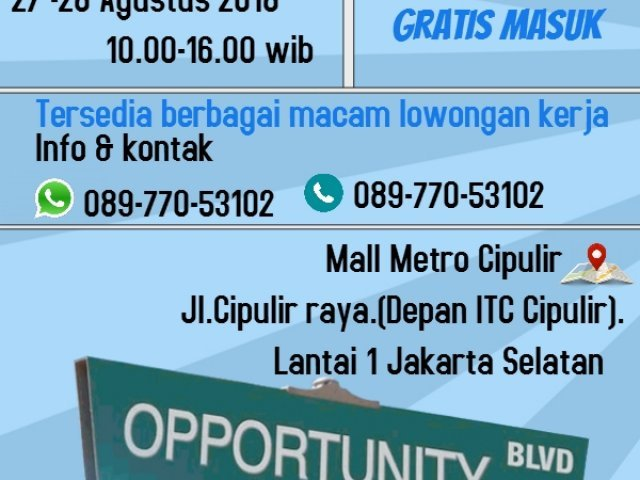 JOB CAREER MAL METRO CIPULIR