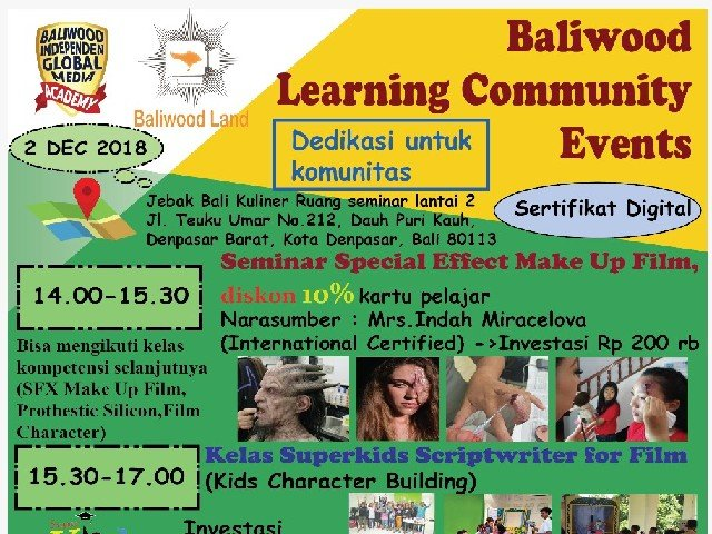 Baliwood Learning Community Events